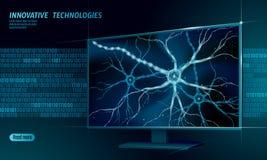 Концепция анатомии человеческого нейрона низкая поли Вычислять облака дисплея дома искусственной нервной технологии сети умный AI иллюстрация вектора
