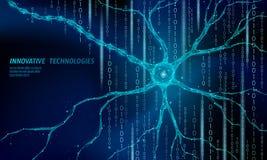 Концепция анатомии человеческого нейрона низкая поли Искусственный нервный вычислять облака медицины науки технологии сети AI 3D иллюстрация вектора