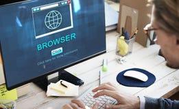 Концепция данным по браузера домашней страницы HTML интернета большая Стоковое Изображение RF