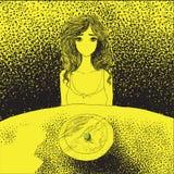 Концепция анорексии - молодая женщина без рта сидя на tabl Стоковое Фото