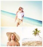 Концепция датировка пляжа лета пар медового месяца Стоковое Изображение RF