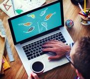 Концепция аферы прикормом Phishing рыбной ловли поглощенная приманкой Стоковые Изображения
