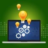 Концепция алгоритма машинного обучения с шестерней внутри компьютера и идеей как лампа иллюстрация вектора