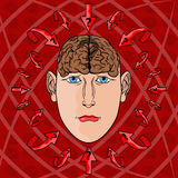 Концепция адресовать вопросы в голове человека вектор Стоковые Фотографии RF