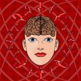 Концепция адресовать вопросы в женщинах головных вектор Стоковое Изображение