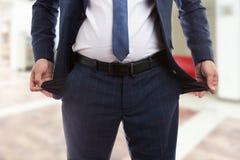 Концепция банкротства с концом вверх пустых карманн Стоковые Изображения RF