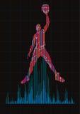 Концепция баскетболиста и цифрового выравнивателя Стоковое фото RF