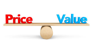 Концепция баланса цены и значения стоковые изображения rf