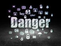 Концепция безопасности: Опасность в комнате grunge темной иллюстрация штока