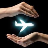 Концепция безопасности полета, страхования жизни Стоковые Изображения RF