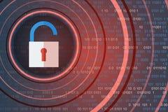 Концепция безопасности технологии Раскройте Padlock на цифровой предпосылке иллюстрация вектора
