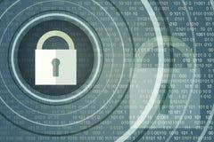 Концепция безопасности технологии Раскройте Padlock на цифровой предпосылке иллюстрация штока