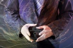 Концепция безопасностью - знак бизнесмена и padlock Стоковая Фотография
