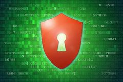 Концепция безопасностью кибер: Красный экран с значком Keyhole на зеленой предпосылке цифровых данных Стоковое фото RF