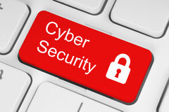 Концепция безопасностью кибер на красной кнопке Стоковое Изображение