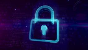 Концепция безопасностью кибер цифровая с padlock видеоматериал