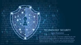 Концепция безопасностью кибер: Экран на предпосылке цифровых данных также вектор иллюстрации притяжки corel Стоковое Изображение