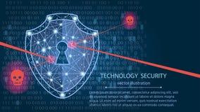 Концепция безопасностью кибер: Экран на предпосылке цифровых данных также вектор иллюстрации притяжки corel Стоковое Фото