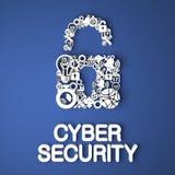Концепция безопасностью кибер. Стоковое Фото