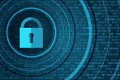 Концепция безопасностью технологии Закрытый Padlock на цифровой предпосылке иллюстрация вектора
