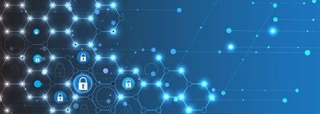Концепция безопасностью технологии Предпосылка современной безопасности цифровая иллюстрация вектора