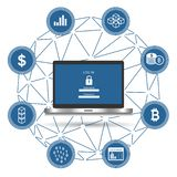 Концепция безопасностью цепи блока Компьтер-книжка с обеспечением безопасности и значки для сети иллюстрация вектора