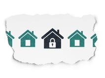 Концепция безопасностью: черный домашний значок на сорванной бумаге Стоковое фото RF