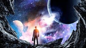 Концепция бизнесмена и космоса Стоковое Фото