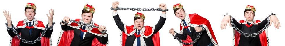 Концепция бизнесмена короля с кроной Стоковая Фотография