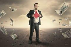 Концепция бизнесмена супергероя иллюстрация штока