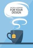 Концепция бизнес-ланча Чашка чаю с воздушным шаром речи Стоковое Фото