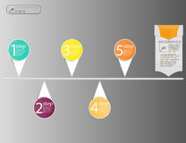 Концепция бизнес-линий infographic Элементы круга вектора для infographic Шаблон infographic 5 располагает, шаги Стоковое Изображение RF