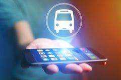 Концепция билета на автобус резервирования онлайн Стоковое фото RF