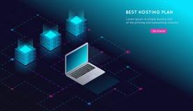 Концепция большой комнаты преобразования данных, веб - хостинга и сервера, компьютера Связь интернета Иллюстрация вектора
