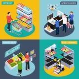 Концепция будущего супермаркета равновеликая иллюстрация штока
