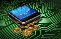 Концепция бумажника и Bitcoins цифров на зеленой плате с печатным монтажом Стоковое фото RF