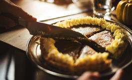 Концепция благодарения десерта пирога тыквы ручной резки Стоковые Фотографии RF