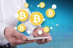 Концепция валюты bitcoin иллюстрация штока