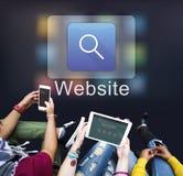 Концепция вебсайта Веб-страницы средств массовой информации символа искателя Стоковое Фото
