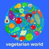 Концепция вегетарианца дня - ряда овощей и плодоовощей на предпосылке глобуса мира бесплатная иллюстрация