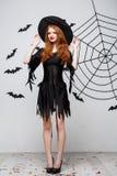 Концепция ведьмы хеллоуина - без сокращений счастливой ведьмы хеллоуина держа представлять над темной серой предпосылкой студии с стоковое фото