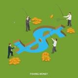 Концепция вектора денег рыбной ловли плоская равновеликая иллюстрация вектора