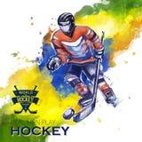Концепция вектора диаграмм хоккея акварелей хоккея Стоковое Изображение RF