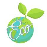 Концепция вектора планеты здоровья зеленого цвета земли Eco Стоковое Изображение