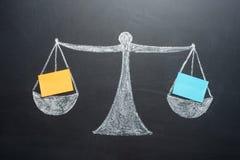 Концепция весов с чистыми листами баланса активов и пассивов стоковые фотографии rf