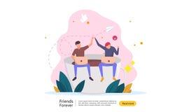 концепция вечности лучших другов для праздновать счастливое событие дня приятельства иллюстрация вектора социального отношения с  иллюстрация штока