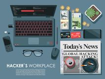 Концепция взгляд сверху места работы ` s хакера плоская с компьтер-книжкой Изделия вируса загружая на сети также ставят палубу на иллюстрация штока