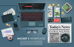 Концепция взгляд сверху места работы ` s хакера плоская с компьтер-книжкой Изделия вируса загружая на сети также ставят палубу на бесплатная иллюстрация