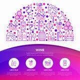 Концепция вина в полкруга с тонкой линией значками: штопор, бокал, пробочка, виноградины, бочонок, список, графинчик, сыр, виногр иллюстрация вектора