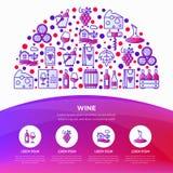 Концепция вина в полкруга с тонкой линией значками: штопор, бокал, пробочка, виноградины, бочонок, список, графинчик, сыр, виногр бесплатная иллюстрация